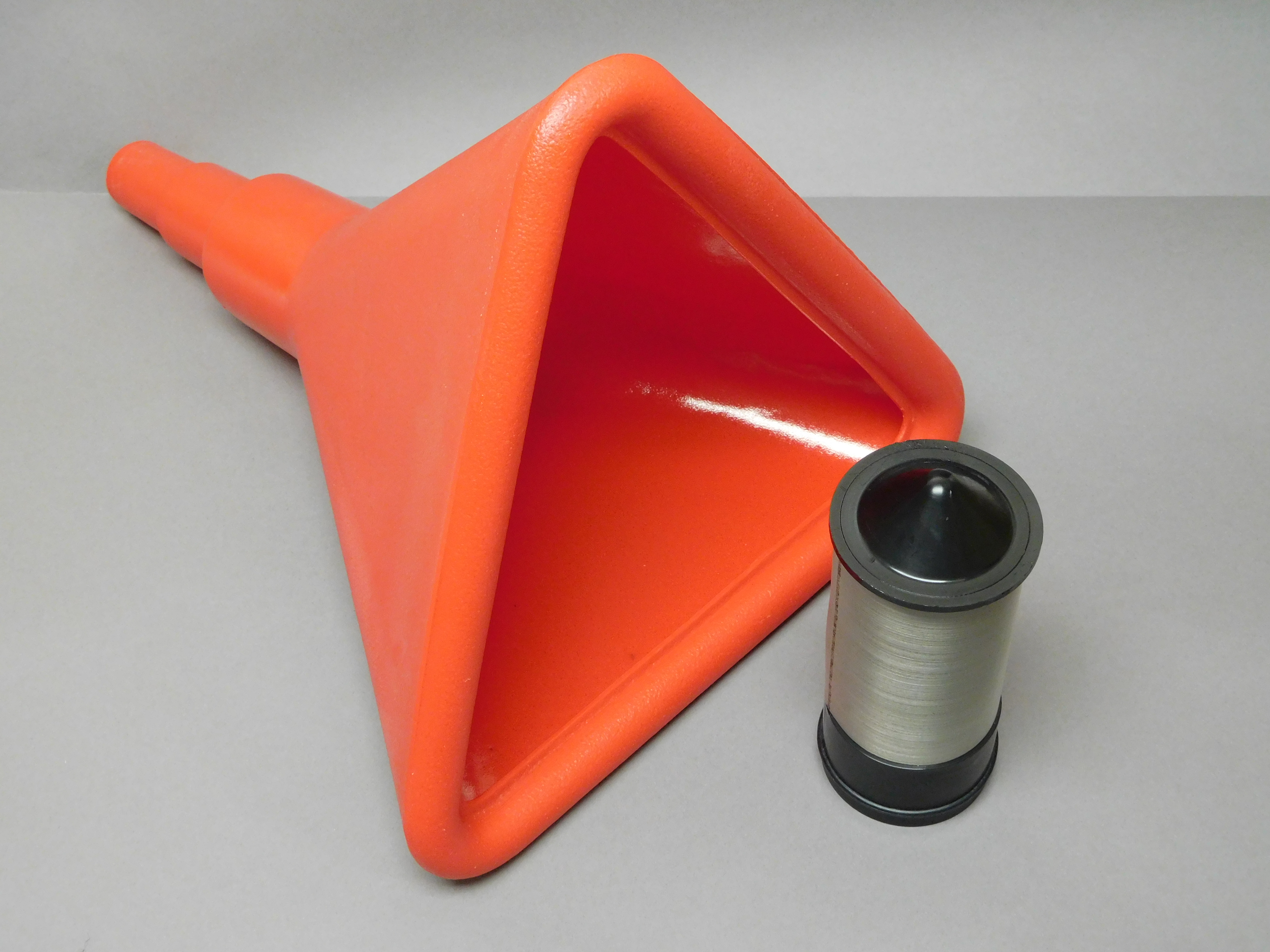 filter funnel, red plastic, 14″ triangular, includes 60 micron filter  insert (#5621)